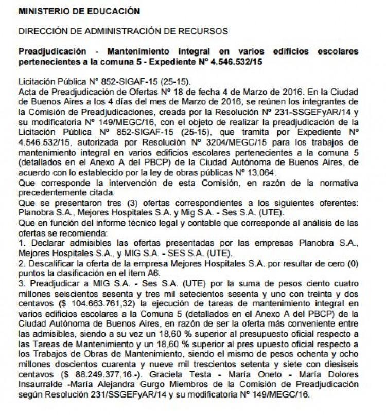 Nueva licitación para íntimo amigo de Macri