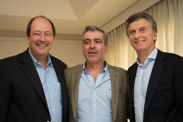 Ernesto Sanz, José Cano y Mauricio Macri