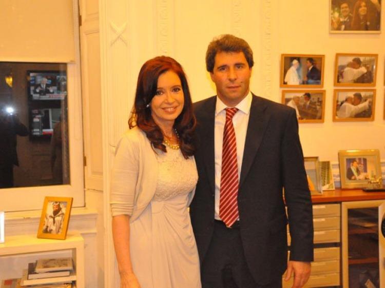 Cristina con Uñac en 2013, cuando Gioja se recuperaba de un accidente