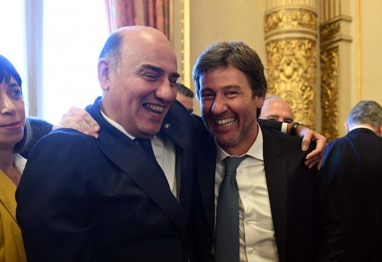 """Barroetaveña y Juan Bautista Mahiques, uno de los presuntos integrantes de la """"mesa judicial M"""", en su jura como Fiscal General de la Ciudad"""