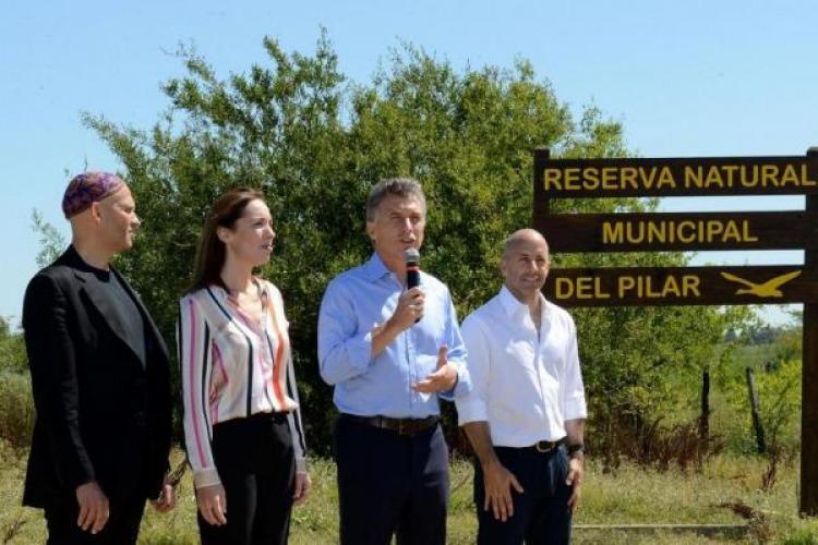 Macri en un acto en Pilar en febrero, cuando se comprometió a garantizar la protección de humedales.