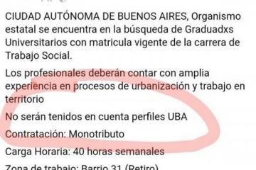 El Gobierno de la Ciudad no quiere contratar egresados de le UBA