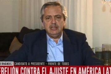 Alberto Fernández cuestionó el silencio de Mauricio Macri sobre la represión en Chile
