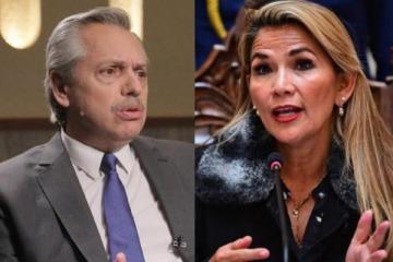 """La dictadora boliviana Añez afirmó que no comparte """"ideología"""" con Alberto, pero le pidió continuar """"los negocios"""""""
