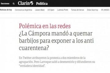 La bizarra fake news difundida por Clarín, el macrismo y trolls para culpar a La Cámpora por la quema de barbijos