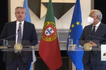 """Alberto pidió al FMI """"un acuerdo que no postergue a los argentinos"""" y logró de Costa """"todo el apoyo de Portugal"""""""
