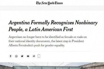 Destacan en Estados Unidos la decisión del gobierno argentino de reconocer a personas no binarias en DNI