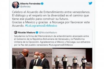 El presidente Fernández celebró el acuerdo de entendimiento entre el Gobierno de Venezuela y la oposición